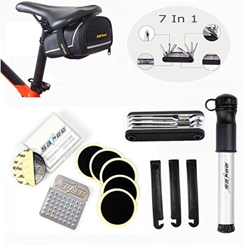 Fahrrad Werkzeug OUTERDO Fahrrad Multitool 7 in 1 Reparaturset Mit Fahrrad Satteltasche Geeignet für alle Arten der Fahrrädern