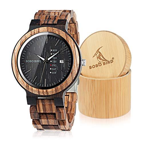 Bobo Bird Herren Holz-Edelstahl Armbanduhr mit Datum- & Tagesanzeige Handgefertigt Quarz Analog Uhr mit Box