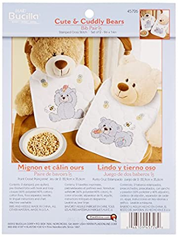 Bucilla Cute and Cuddly Bear Bib Pair Stamped Cross Stitch Kit