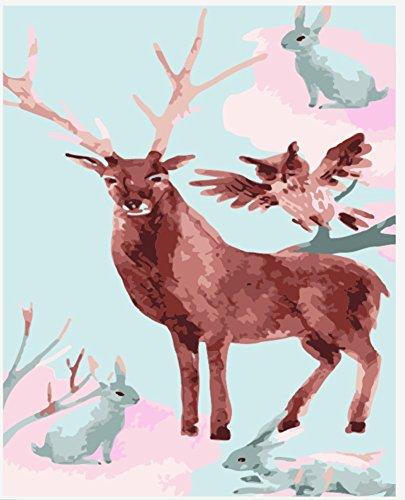 OBELLA Malen nach Zahlen Kits || Reh Eule Bunny 50 x 40 cm || Malen nach Zahlen, DIGITAL Ölgemälde (Ohne (Bunny Zubehör Kit)