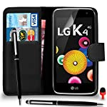 LG K4 Case - Premium Leather BLACK Wallet Flip Case Cover Pouch with Ball Pen Touch Stylus RED Dust Stopper Screen Protector & Polishing Cloth SVL4, (WALLET BLACK)
