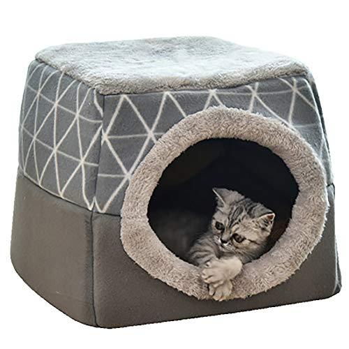 Yunnasi cuccia casa per gatto letto per cani con cuscino removibile gatto cane piccolo lettini morbido e confortevole 35x33x30cm (l, grigio)