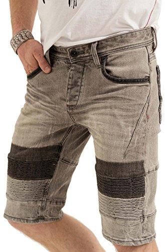 trueprodigy Casual Herren Marken Jeans Shorts mit Stretch, Kurze Hose cool und stylisch Denim Vintage (Destroyed & Slim Fit), Jeans für Männer in Farbe: Grau 6272103-2055-29