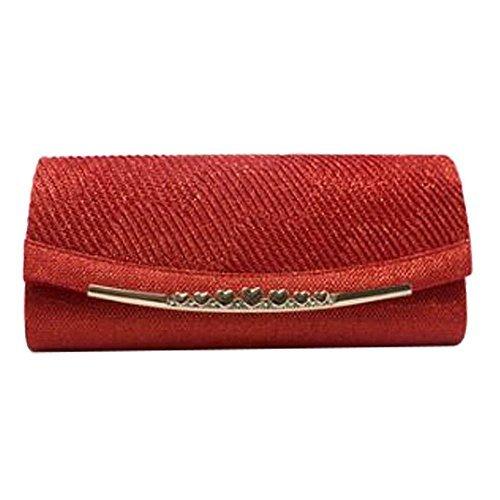 NEU plissiert Klappe Schimmernd Glitzernd Herz Dekoration Damen bräutlich Abend Clutchbag Portemonnaie - Gold, Medium Rot