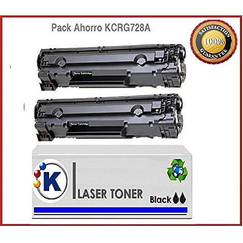 PACK AHORRO 2XTONER RECICLADO CANON 728, tóner compatible Canon Toner CANON EP-728 , MF4410 , MF4450 , MF4550 , MF4570 , MF4580 , i-sensys L150 , L170 ,2.100p.. Remanufacturado en España, envio desde