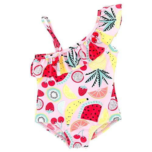 Kleine Mädchen drucken ein Stück Bikini Badeanzug Kinder eine Schulter Sommerurlaub Badeanzug Beachwear Tankini Bademode Trikots Body Sportliche Badeanzüge für Mädchen ( Farbe : Rosa , Größe : 5T ) - Mädchen Trikot 5t