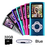 Ueleknight MP3/MP4 Player mit Einer 32G Micro SD-Karte, tragbarer Digital Music Player Auch als Sprachaufzeichnung/FM-Radio/Video/E-Book-Reader, 1,8 Zoll LCD-Bildschirm Economic MP3 Player-Blau