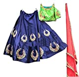 Surat4fashion Georgette Lehenga Choli (Blue_Green_Blue_Free Size)