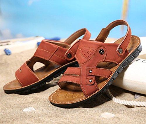 Icegrey Herren Sandalen Slide Geschlossene Freizeit Hausschuhe Outdoor Sommer Strand Pantolette Rot Braun