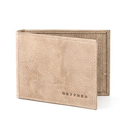 Hoxton Leder Geld Clip Wallet mit ID Fenster von Gryphen, Beige - stone - Größe: One Size
