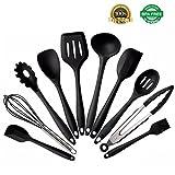 Silikon Küche Kochgeräte Set - iFeeker 10 Stück Hitzebeständige Non-Stick Backwerkzeuge Set Inklusive Pasta Löffel,