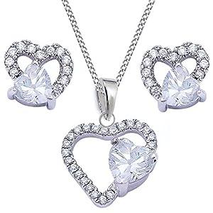 Herz Ohrstecker Anhänger Kette 925 Echt Silber Rhodiniert Cubic Zirkonia Mädchen Set Kinder Ohrringe CR08-Kristallklar