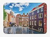 Soefipok Alfombra de baño de Ámsterdam, Edificios Antiguos de Holanda con Coloridas Ventanas bajo el Cielo Azul Nublado, Alfombrilla de baño de Felpa con Respaldo Antideslizante