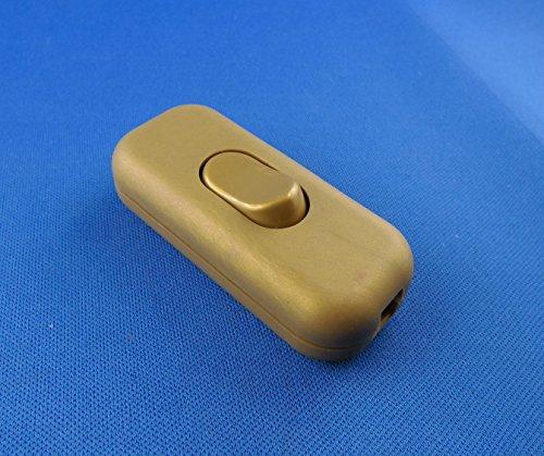 Schnur-Zwischenschalter Gold, 2-polig, 6 A, 250 V~, Paßt für LED, SMD, Mit Schutzleiter-Klemme