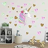 AIYANG Stickers muraux en forme de licorne, couleurs arc-en-ciel, autocollants muraux réfléchissants, pour filles, bébé, chambre à coucher, salle de jeux