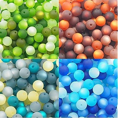 Juego de 4con perlas de por polarisperlen24–Mezcla de perlas (10mm, verde, marrón, gris y azul, azul, perlas de producción alemana
