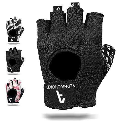 Alphachoice Fitness Handschuhe/Trainingshandschuhe ohne Handgelenksstütze für Krafttraining Gewichtheben und Bodybuilding Damen & Herren (Schwarz, S)