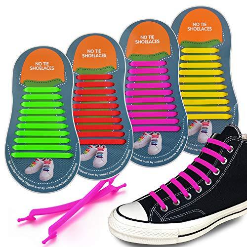 Dauerhafte Silikon (4 Paare Elastische Schnürsenkel Silikon Schleifenlose Schuhbänder Flexible Dauerhaft ohne Binden/Schnellschnürsystem mit Schnellverschluss für Erwachsene Turnschuhe Segeltuchschuhe Skateboard Schuhe)