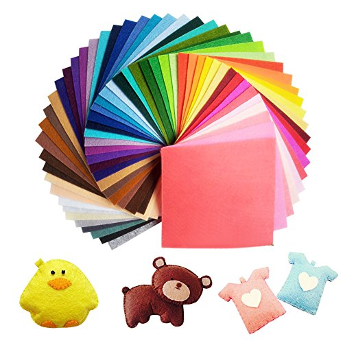 Jingxu 60 Farben Filzstoff 15 x 15cm Bastelfilz Filz Blätter Polyester Felt Fabric DIY Stoff filzplatten