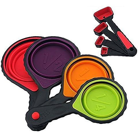 Jecxep Tazas de medición y cuchara conjunto plegable de silicona tazas de medir y cucharas Set, 8 juego de piezas