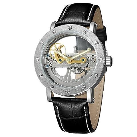 Forsining pour homme Unique Design de mode automatique Hommes populaire Style Cuir véritable Squelette Montre-bracelet