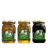 la celda real - 1,5kg miel naturel - origine espagne - 100% pure - pot en verre - pack 3 saveurs: