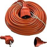 Cable alargador de corriente eléctrica para exterior-jardín, Schuko 30 metros. Color naranja.