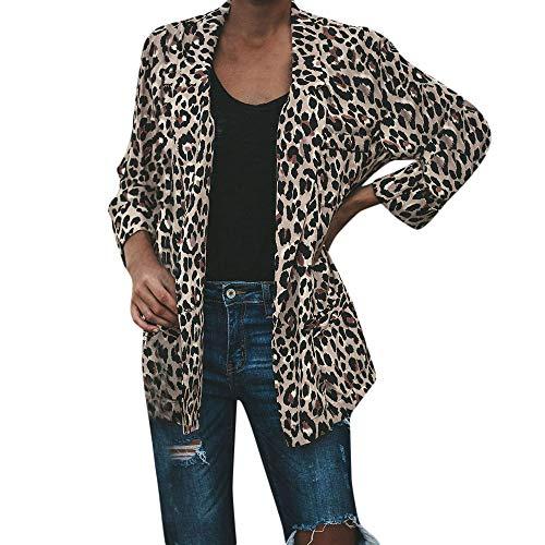 Overdose Camisa De Mujer De Invierno CáLido CáLido De La Solapa De Leopardo De ImpresióN Sexy Chaqueta De Piel SintéTica Abrigo Corto Cardigan Prendas De Abrigo