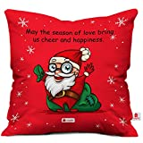 Cheerful Santa Print Red Cushion Cover with Filler ( Xmas Gift For Her, Him, Boy, Girl, Dad, Mom, Friends, Family ) - Christmas Decorations