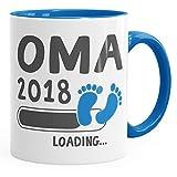 MoonWorks Kaffee-Tasse Oma 2018 Loading Geschenk-Tasse für Werdende Oma Schwangerschaft Geburt Baby Tee-Tasse Blau Unisize