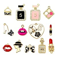 JIALEEY Assorted Gold Plated Enamel Lipstick Perfume Fashion Style Charm Pendant DIY for Necklace Bracelet Jewelry Making and Crafting, 13PCS