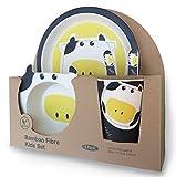Vajilla de bambú bebé e Infantil, Material ecológico sin BPA. Varios Colores y Animales, Apto para lavavajillas (Vaca)