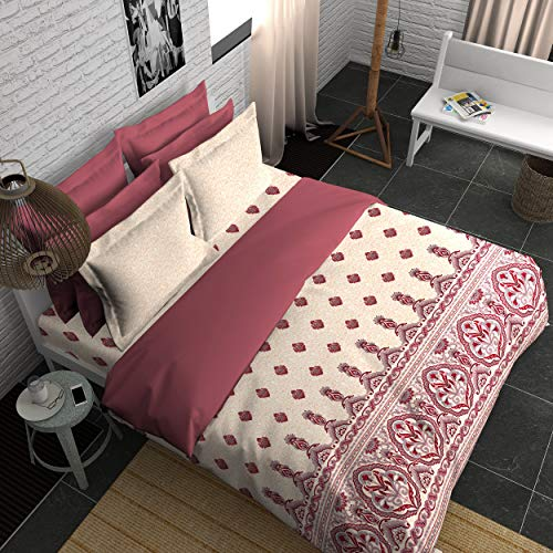 Boutique Living India 300Tc Maroon King Size Cotton Printed with 2 Pillow Cover Bedsheet Set-(274cm x 274cm) Noor-Buy Online bedsheet