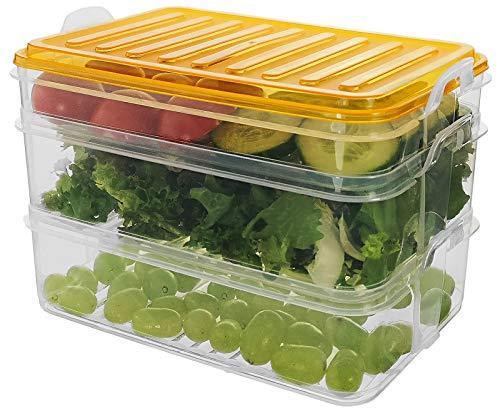 Hochwertige Kühlschrank-Behälter für Aufschnitt | Wurst und Käse aufbewahrung | Kunststoff (BPA-FREI) | | Frischhaltedose | Geschirrspülmaschinenfest - 1 x 0,75 Liter + 2 x 1,6 Liter (Orange)