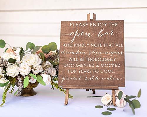 Beyyins Open Bar Schild für Hochzeit Drunken Shenanigans Lustiges Bar Schild Hochzeit Bar Schild Heute Abend Getränke sind frei Alkohol Cocktails Holz Holz (An Open Bar Hochzeit Der)
