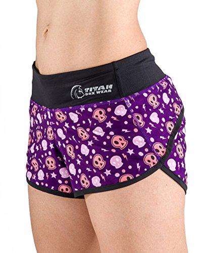 Titan Box Wear Go Calaveras Pantalón Corto, Mujer, Violeta /...