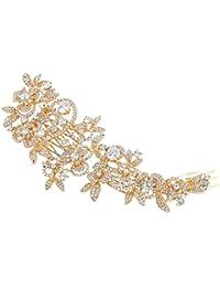 EVER FAITH® Peigne à cheveux Cubic Zirconia Cristal 6.6 Inch Bouquet Fleurs Feuilles Clair