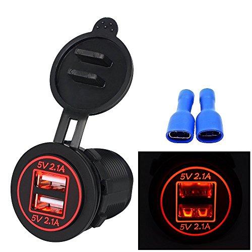 TurnRaise 4.2A Toma USB Cargador para Coche Barco Motocicleta 12-24 Voltios IP66, Color Negro (Led Rojo)