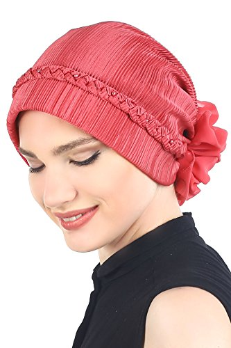 Tressé avec des perles Coiffe pour Perte de Cheveux, Cancer, Chimio Coral Red