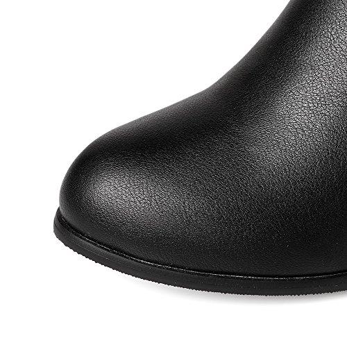 AgooLar Damen Weiches Material Ziehen Auf Rund Zehe Mittler Absatz Hoch-Spitze Stiefel Schwarz