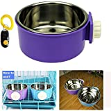 Pet Leso® Removable Stainless Steel Hanging Bowl Cat Bowl Dog Water Bowl Birds Food Bowl -Purple