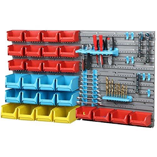 Yahee Werkzeugwand 43 tlg Stapelboxen Wandregal Werkstatt Wand Werkzeughalterung