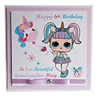 PERSONALISED UNICORN LOL DOLL HAPPY BIRTHDAY CARD - Personalise with name and age. Girls Greeting Card. Handmade layered 2d LOL surprise doll