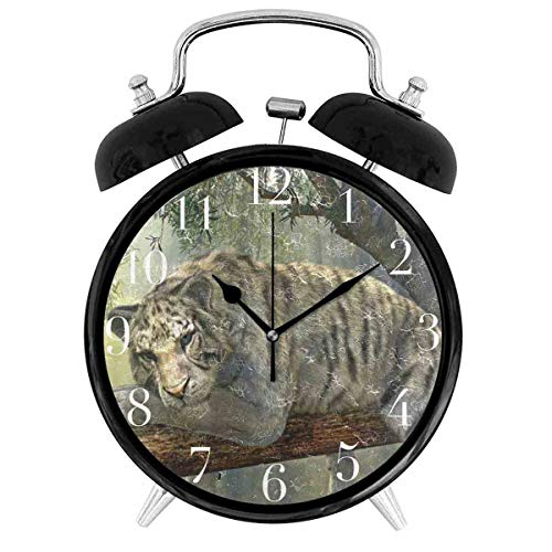 154ytujbgvas Tiger Animal Jungle Rainforest Exotic World 4in Twin Bell Loud Alarm Clock for Heavy Sleepers Battery Operated Black Desk Clock -