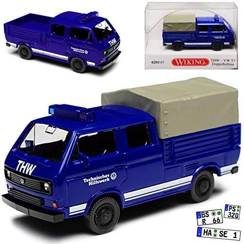 Wiking Volkwagen T3 Doppelkabine HTW Blau Transporter 1979-1992 H0 1/87 Modell Auto mit individiuellem Wunschkennzeichen -