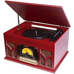 Nevir NVR-806VRBUC tocadisco - Tocadiscos (Rojo, Madera, Madera, 400 x 223 x 300 mm, Corriente alterna, RCA, 445 x 266 x 367 mm)