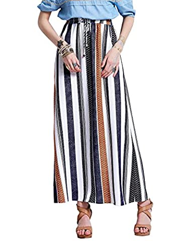 Bohoartist Women's Cotton Linen Color Block Stripe A-Line Elastic High Waisted Ankle-Length Long Maxi Skirt