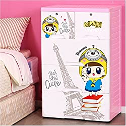TheTickleToe Thickened Plastic Minion Chest of Drawers Closet Wardrobe Organizer Kids Boy Girl Room Baby Nursery Decor DIY Cartoon 4 Layers Drawers with 2 Locks Pink