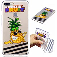 Funda iPhone 7PLUS silicona transparente Ultra-fino TPU suave Carcasa Bumper DECHYI Patrón arte-ananas