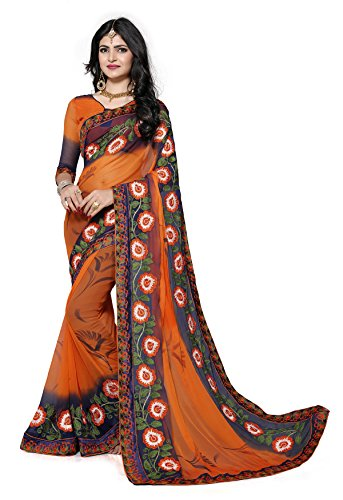 Fab Valley Women's Chiffon Saree with Blouse Piece (Fab-1047-S-D1_Fab-1047-S-D1)